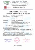 Certyfikat Zgodności z Europejską Dyrektywą